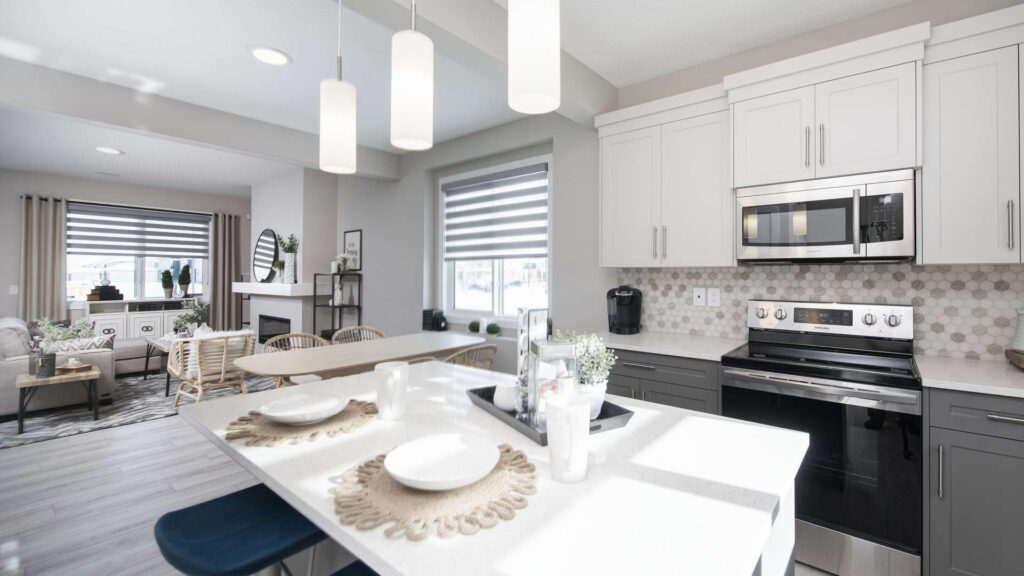 interior shot of the kitchen and living room of a look masterbuilder townhome