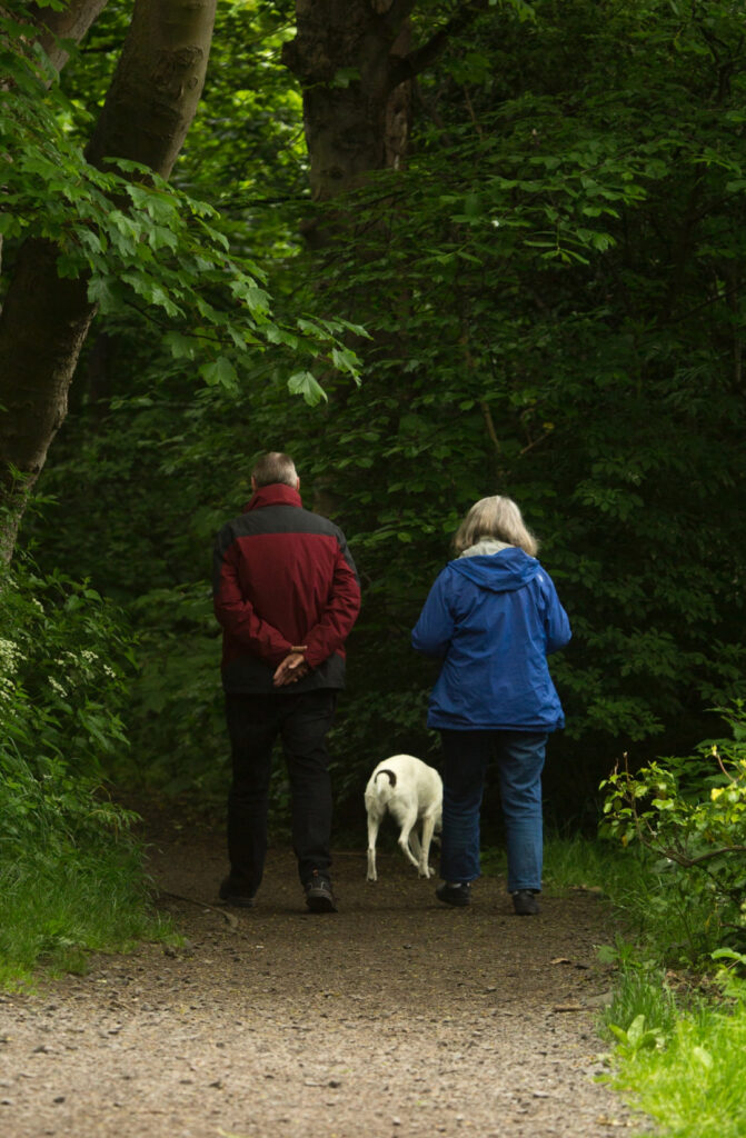 older couple walking their dog on a nature trail