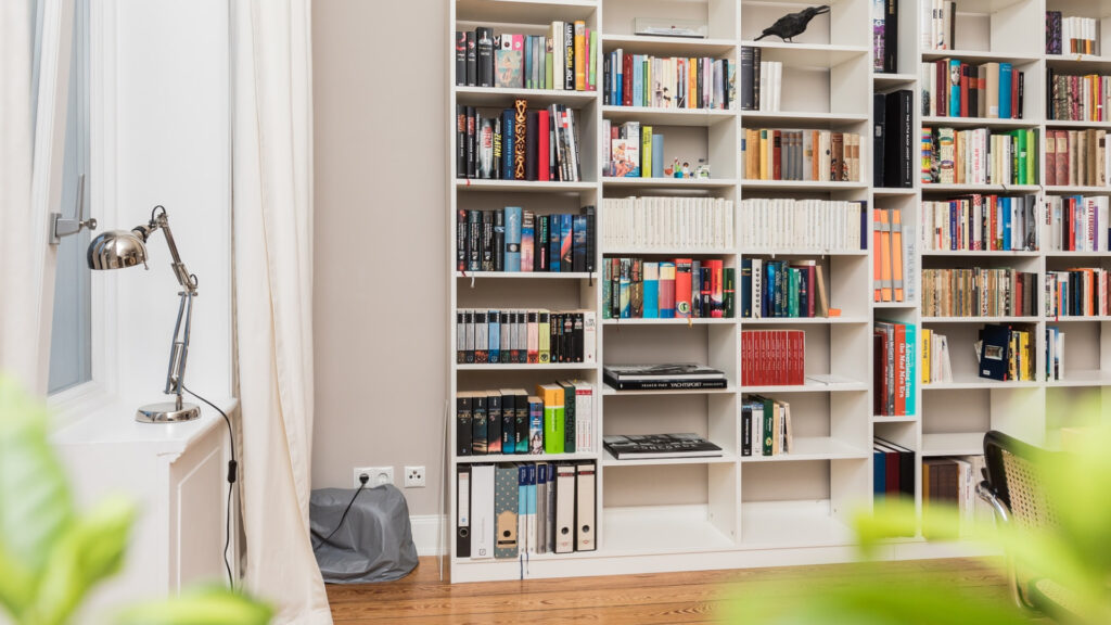 personal home library in a flex room
