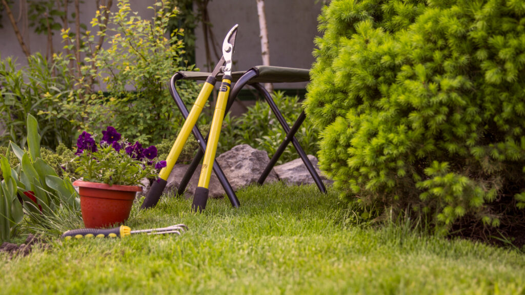 gardening sheers propped up against a stool in a backyard